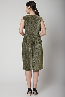 Gold Metallic Dress With Plunging Neckline by Swatee Singh