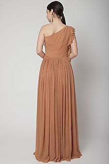 Nude Ruffled Gown With Ruching by Swatee Singh