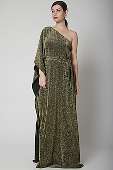 Gold Metallic Gown With Belt by Swatee Singh