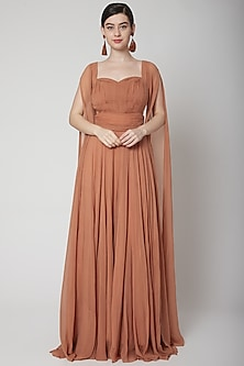 Nude Gown With Flared Sleeves by Swatee Singh