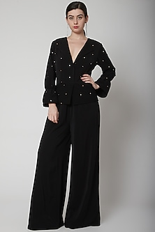Black Hand Embroidered Jumpsuit by Swatee Singh