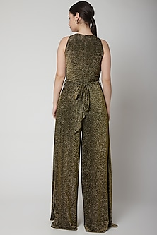 Gold Halter Jumpsuit With Flag Drapes by Swatee Singh