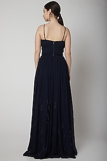Black Strappy Gown With Feathers by Swatee Singh