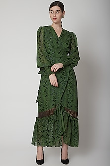 Mehendi Green Printed Wrap Dress by Swatee Singh