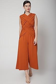 Orange Jumpsuit With Criss Cross Pleats by Swatee Singh