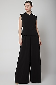 Black Jumpsuit With Quilted Detailing by Swatee Singh