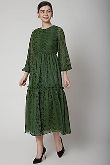 Mehendi Green Animal Printed Dress by Swatee Singh