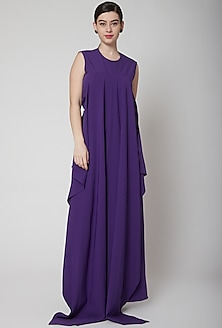 Purple Jumpsuit With Flag Drape by Swatee Singh