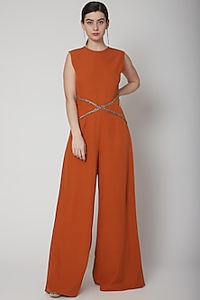 Orange Hand Embroidered Jumpsuit by Swatee Singh