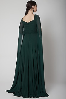 Mehendi Green Ruched Gown by Swatee Singh