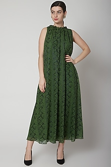 Mehendi Green Animal Printed Flared Dress by Swatee Singh