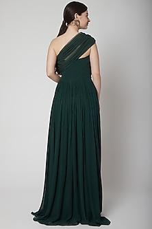 Mehendi Green One Shoulder Gown by Swatee Singh
