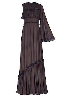 Dark Brown Flared Gown by Swatee Singh