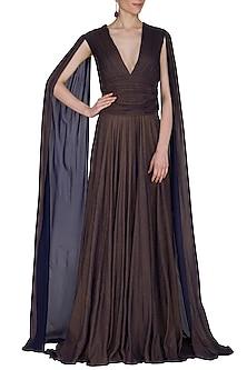 Dark Brown Flared Gown With Long Sleeves by Swatee Singh