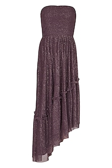 Dark Brown Pleated Tube Dress by Swatee Singh