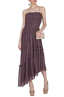 Dark Brown Pleated Tube Dress by Swatee Singh