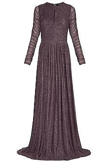 Dark Brown Pleated Gown by Swatee Singh
