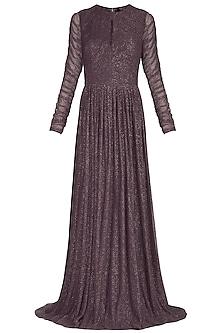 Dark Brown Pleated Gown by Swatee Singh