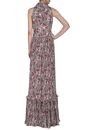 Multi Colored Textured & Flared Gown by Swatee Singh