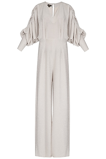 Ivory Metallic Wide Leg Jumpsuit by Swatee Singh