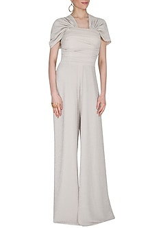 Ivory Metallic Off Shoulder Jumpsuit by Swatee Singh