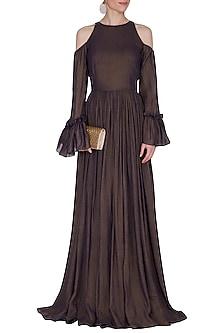 Dark Brown Flared Cold Shoulder Gown by Swatee Singh