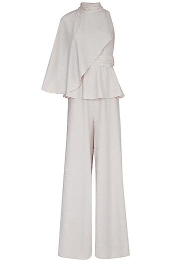 Ivory Peplum Wide Leg Jumpsuit by Swatee Singh