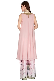 Rose Pink Printed Kurta With Wide Leg Pants by Swatee Singh