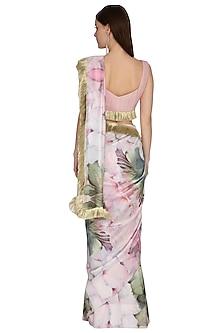 Blush Pink Printed Saree Set by Swatee Singh