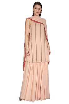 Blush Pink Embroidered Sharara Set by Swatee Singh