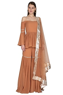 Sand Embroidered Sharara Set by Swatee Singh