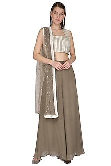 Oyster Embroidered Blouse With Pants & Dupatta by Swatee Singh