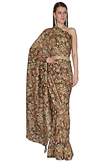 Olive Green Printed Saree Set With Belt by Swatee Singh