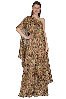 Olive Green Printed Cape Top With Pants by Swatee Singh