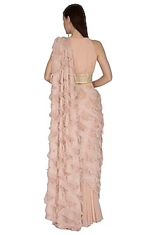 Blush Pink Embroidered Pant Saree Set by Swatee Singh