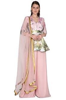 Blush Pink Printed & Embroidered Kurta Set by Swatee Singh