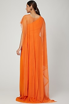 Orange Gown With Polka Lace Cape by Swatee Singh