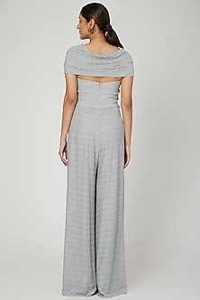 Silver One Shoulder Jumpsuit by Swatee Singh