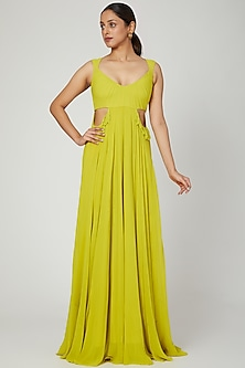 Lime Green Gown With Cut Outs by Swatee Singh
