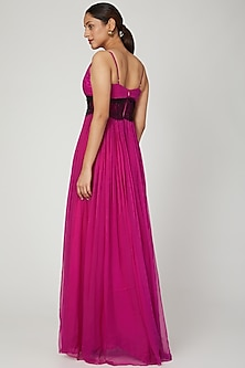 Fuchsia Gown With Lace Detailing by Swatee Singh