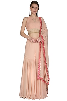 Blush Pink Gota Embroidered Sharara Set by Swatee Singh