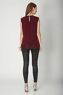 Maroon Top With Fringe by Swatee Singh