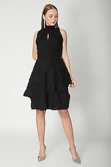 Black Layered Halter Neck Dress by Swatee Singh