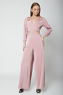 Blush Pink Hand Embroidered Jumpsuit by Swatee Singh