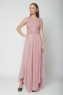 Blush Pink Asymmetric Pleated Gown by Swatee Singh