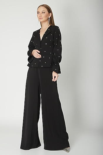 Black Embroidered Peplum Jumpsuit by Swatee Singh
