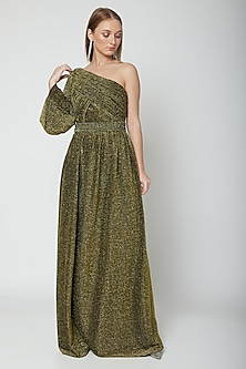 Olive Green & Gold Draped Metallic Gown by Swatee Singh