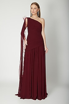 Maroon One Shoulder Draped Gown by Swatee Singh