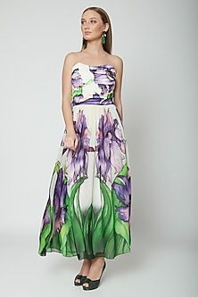 Purple Printed Tube Dress by Swatee Singh