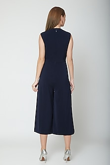 Midnight Blue Pleated Jumpsuit by Swatee Singh